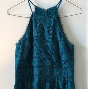 Loft green lace dress
